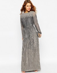 Asos Petite Linear Sequin Long Sleeve Maxi Dress in Gray ...