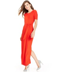 Lyst - Spense Petite Short-Sleeve Textured Maxi Dress in Red