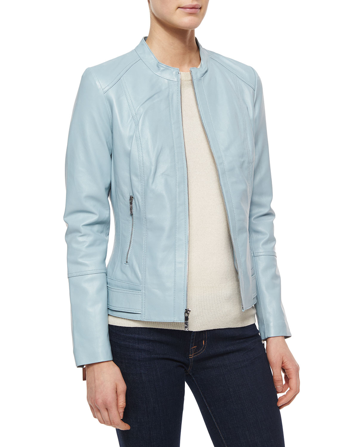 Neiman marcus leather zip front jacket in blue lyst