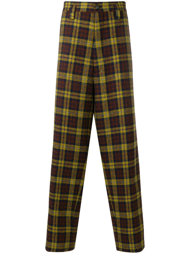 tartan wool tailored trousers in navy