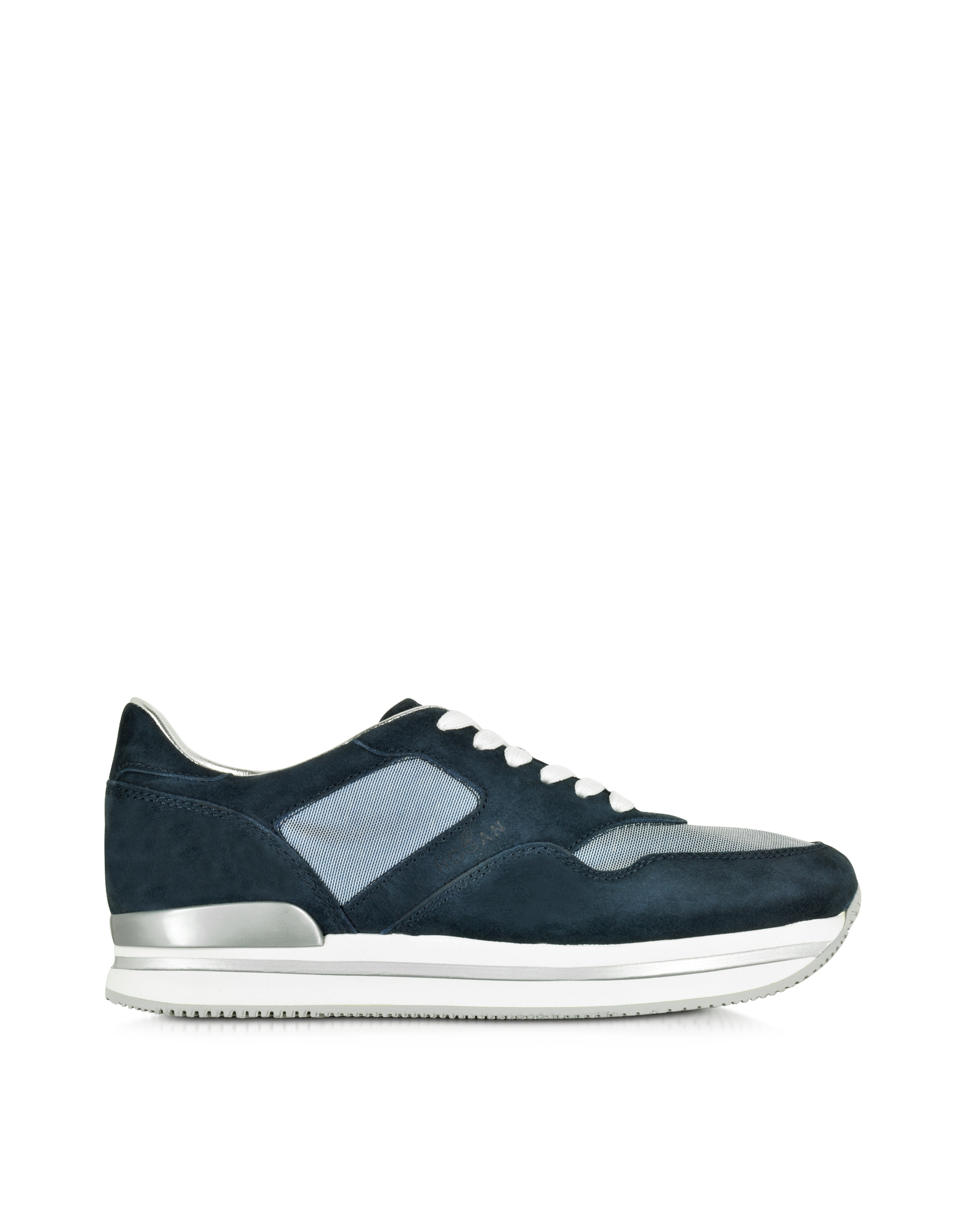 Forzieri Hogan Lyst Hogan H222 Navy Blue Suede And Mesh Sneaker In Blue