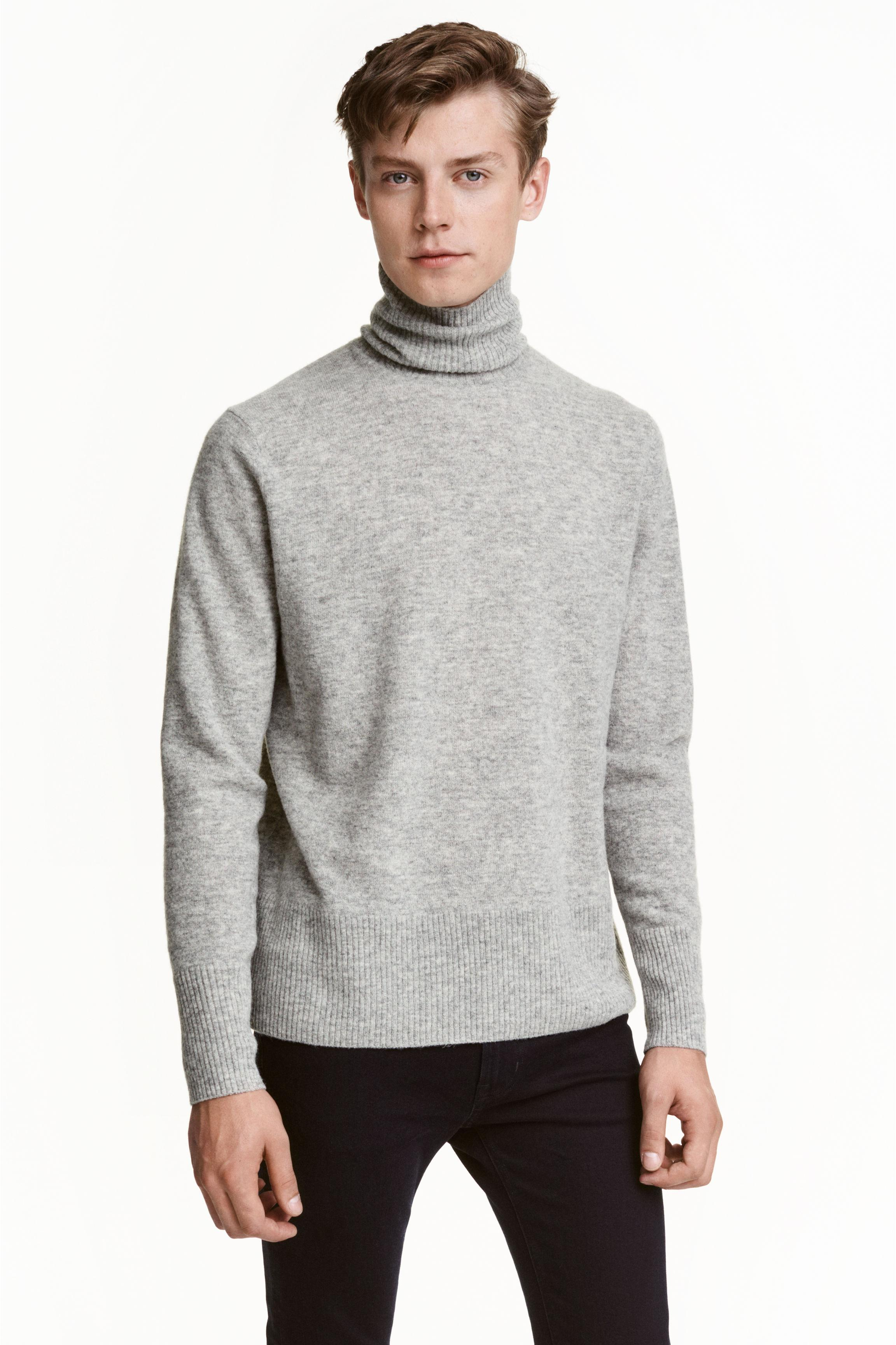 Hm Amberg H Andm Fine Knit Polo Neck Jumper In Gray For Men Lyst