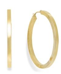 Macy's High-polish Hoop Earrings In 10k Gold in Metallic ...