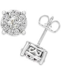 Macy's Diamond Stud Earrings (1/2 Ct. T.w) In 14k White ...