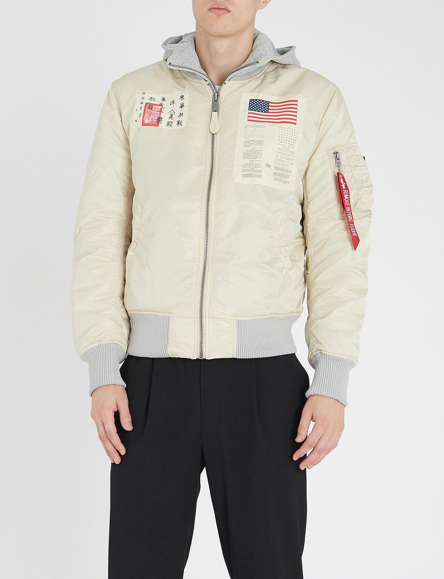 D Tec Alpha Industries Ma 1 D Tec Blood Chit Shell Bomber Jacket In