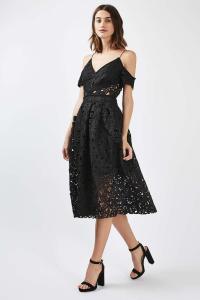 Topshop Tall Laser Cut Bardot Prom Dress in Black   Lyst