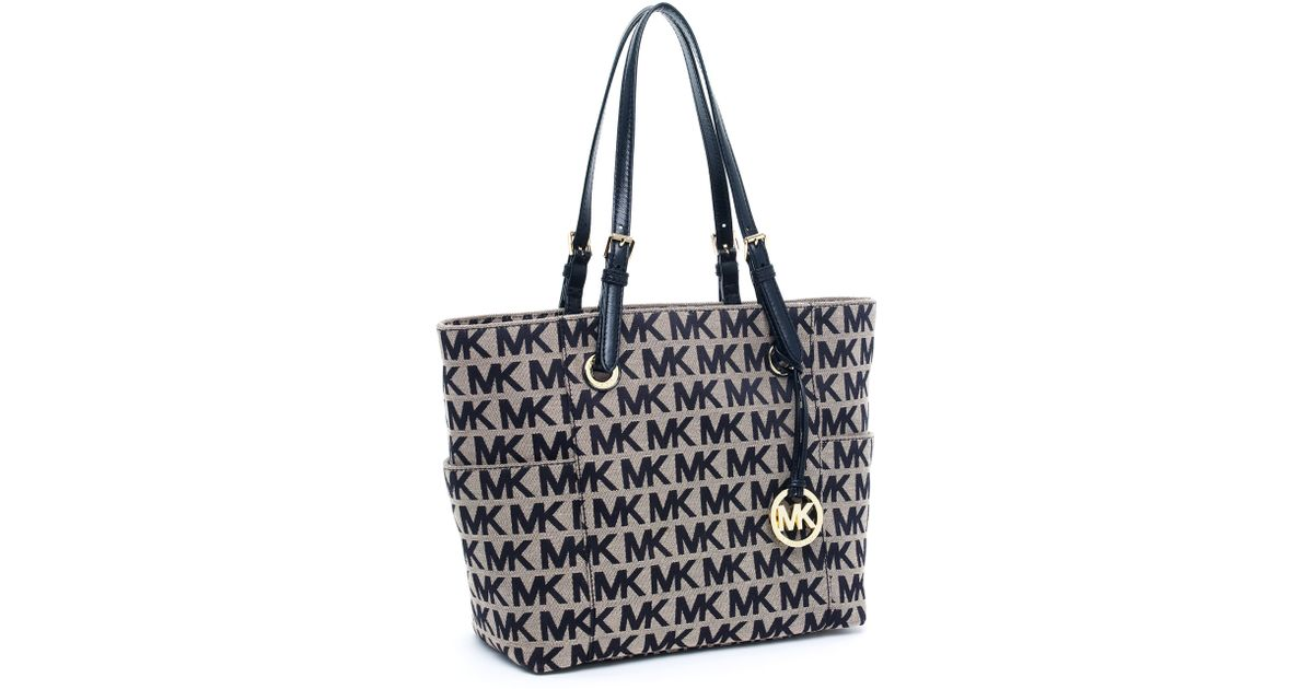 michael kors block monogram signature tote
