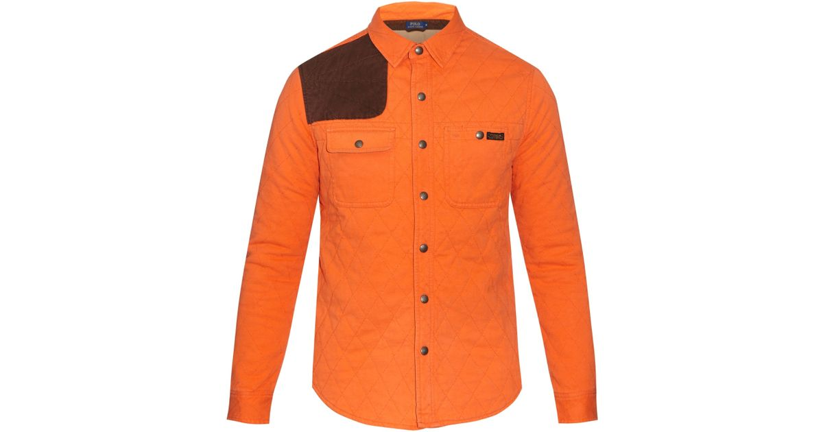 Polo Ralph Lauren Quilted Cotton Jersey Shirt In Orange