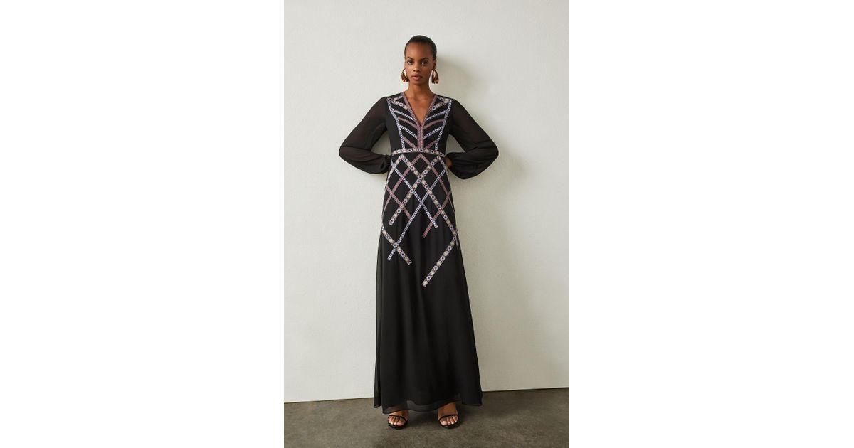 Bcbgmaxazria Embroidered Georgette Gown In Black Lyst