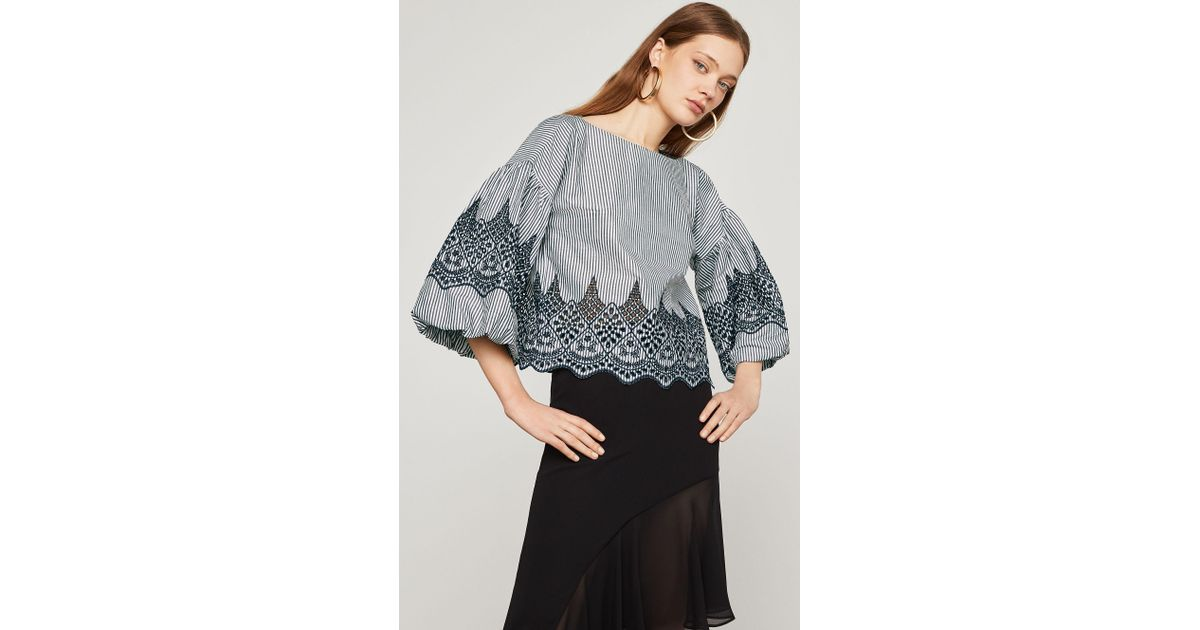 Bcbgmaxazria Long Bell Sleeve Embroidered Cotton Top In