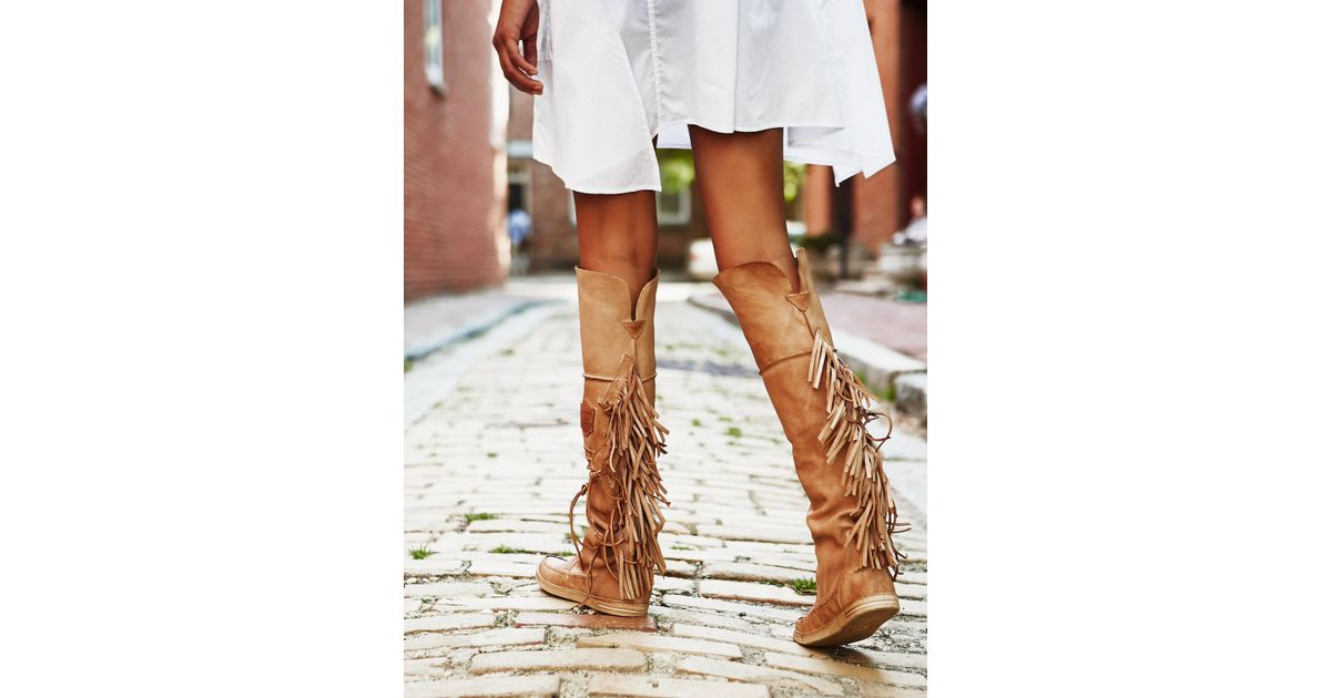 Lyst Free People Carpario Tall Moccasin In Brown