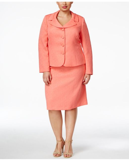 Straight Hair Asl Tahari Plus Size Jacquard Skirt Suit In Pink Coral