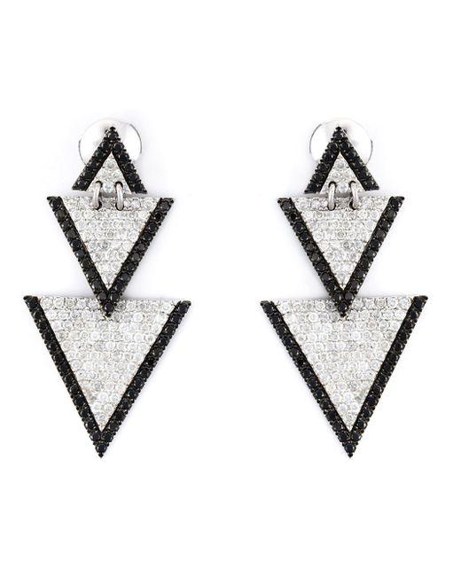 Elise dray Drop Triangle Diamond Earrings in Metallic