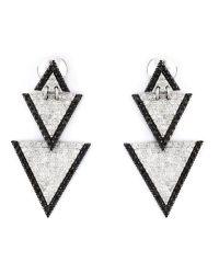 Elise dray Drop Triangle Diamond Earrings in Metallic | Lyst