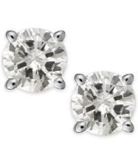 Macy's Diamond Stud Earrings (1/3 Ct. T.w.) In 14k White ...