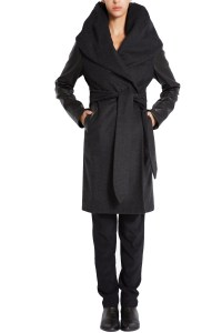 Mara Hoffman Leather Sleeve Shawl Coat in Black | Lyst