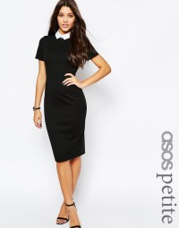 Asos Petite Bodycon Dress With Collar in Black | Lyst