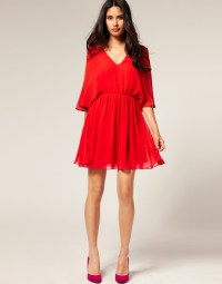 Asos collection Asos Petite Chiffon Kaftan Dress in Red | Lyst