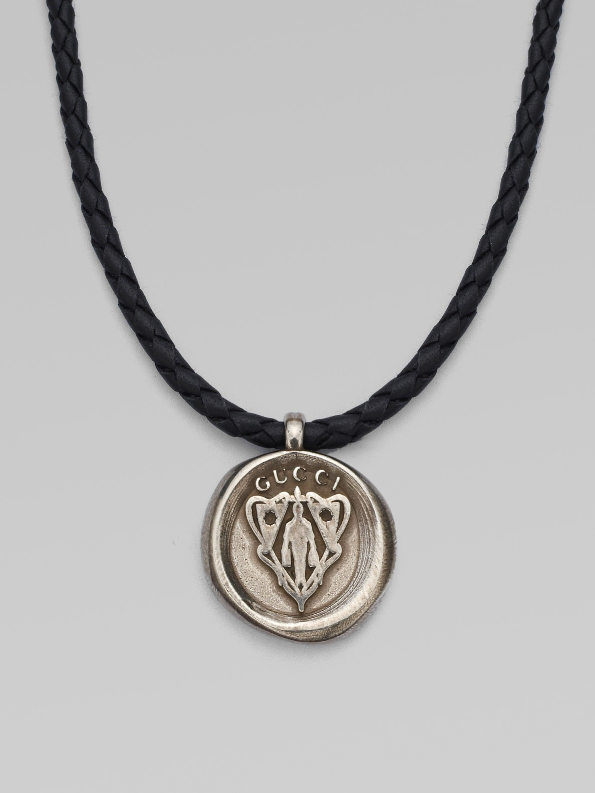 Gucci Woven Leather Necklace With Pendant In Black For Men