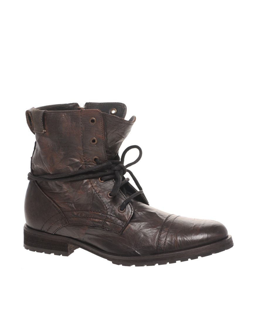 Asos Asos Lace Up Work Boots In Brown For Men Lyst