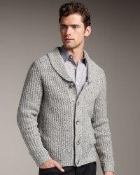 Lyst - Theory Shawl-collar Cardigan in Gray for Men