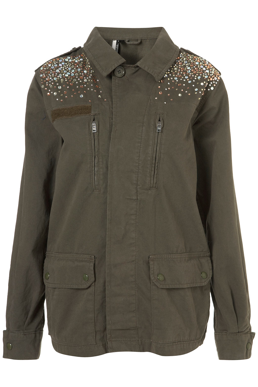 Lyst Topshop Crystal Embellished Army Jacket In Green