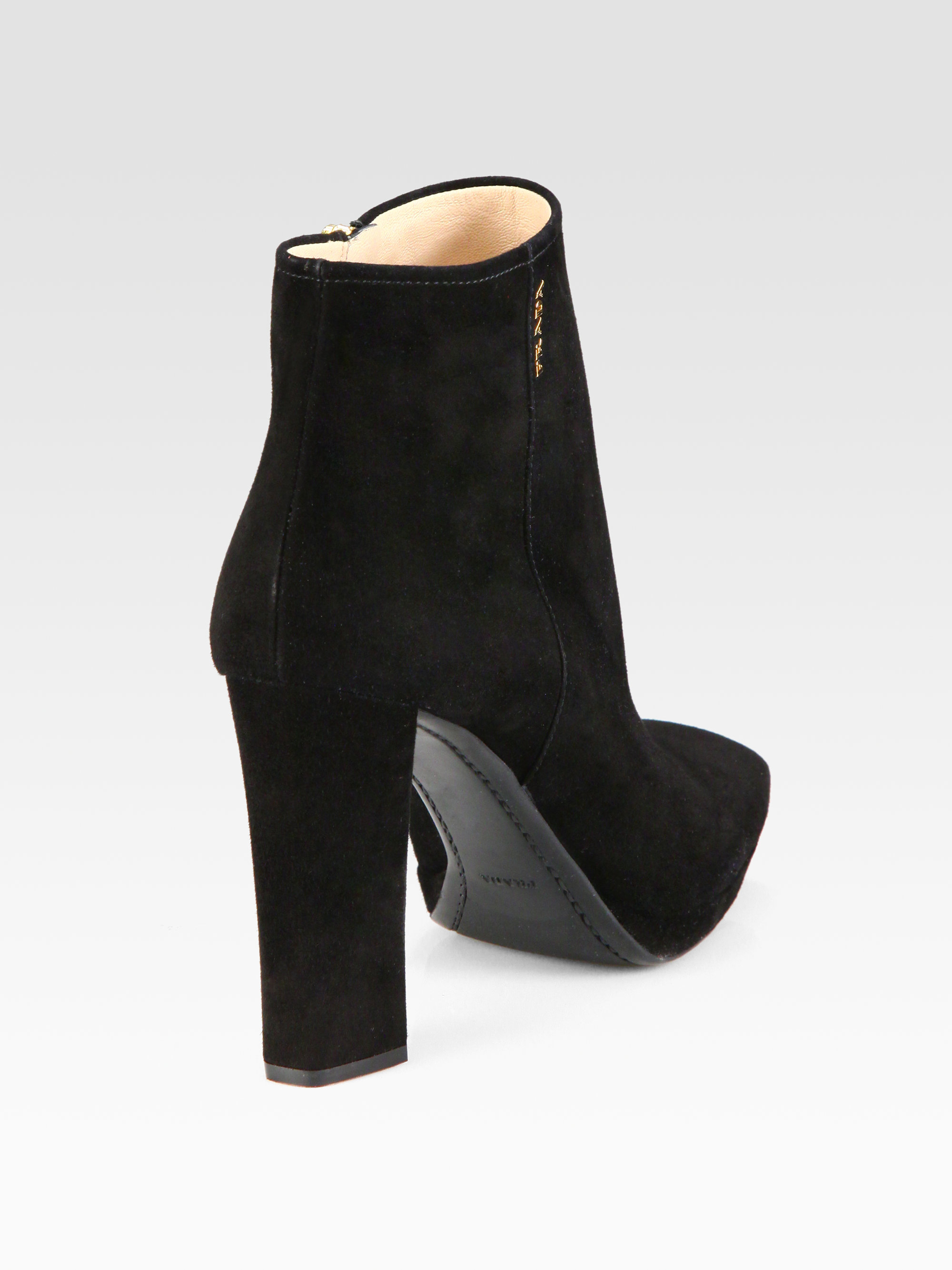 3c2ee7267c61 Prada Suede Platform Ankle Boots In Black Lyst