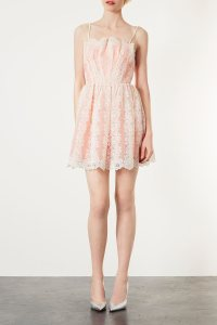 Lyst - Topshop Strappy Lace Prom Dress in Pink