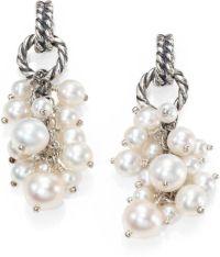 David Yurman Pearl Sterling Silver Cluster Drop Earrings ...