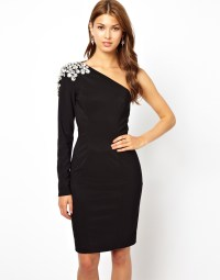 Forever Unique One Shoulder Dress in Black | Lyst