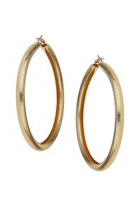 Topshop Oversized Sandblast Hoop Earrings in Metallic | Lyst