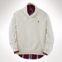 Polo ralph lauren Cotton Shawl Collar Sweater in Natural ...