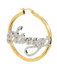 Lyst - Stussy Name Plate Hoop Earrings in Metallic