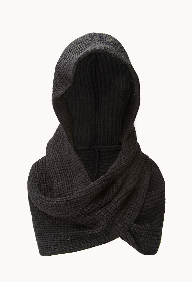 Forever 21 Hooded Scarf in Black