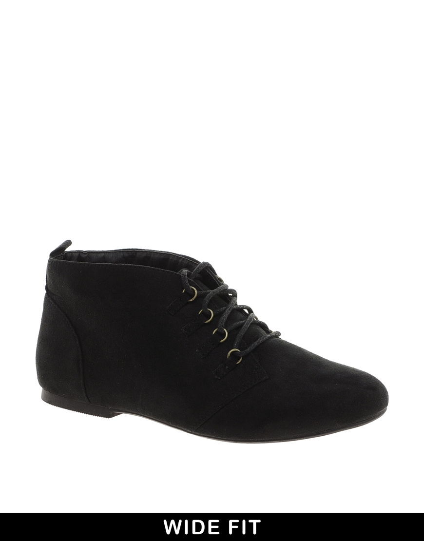 Lyst Asos Lace Up Flat Ankle Boots In Black