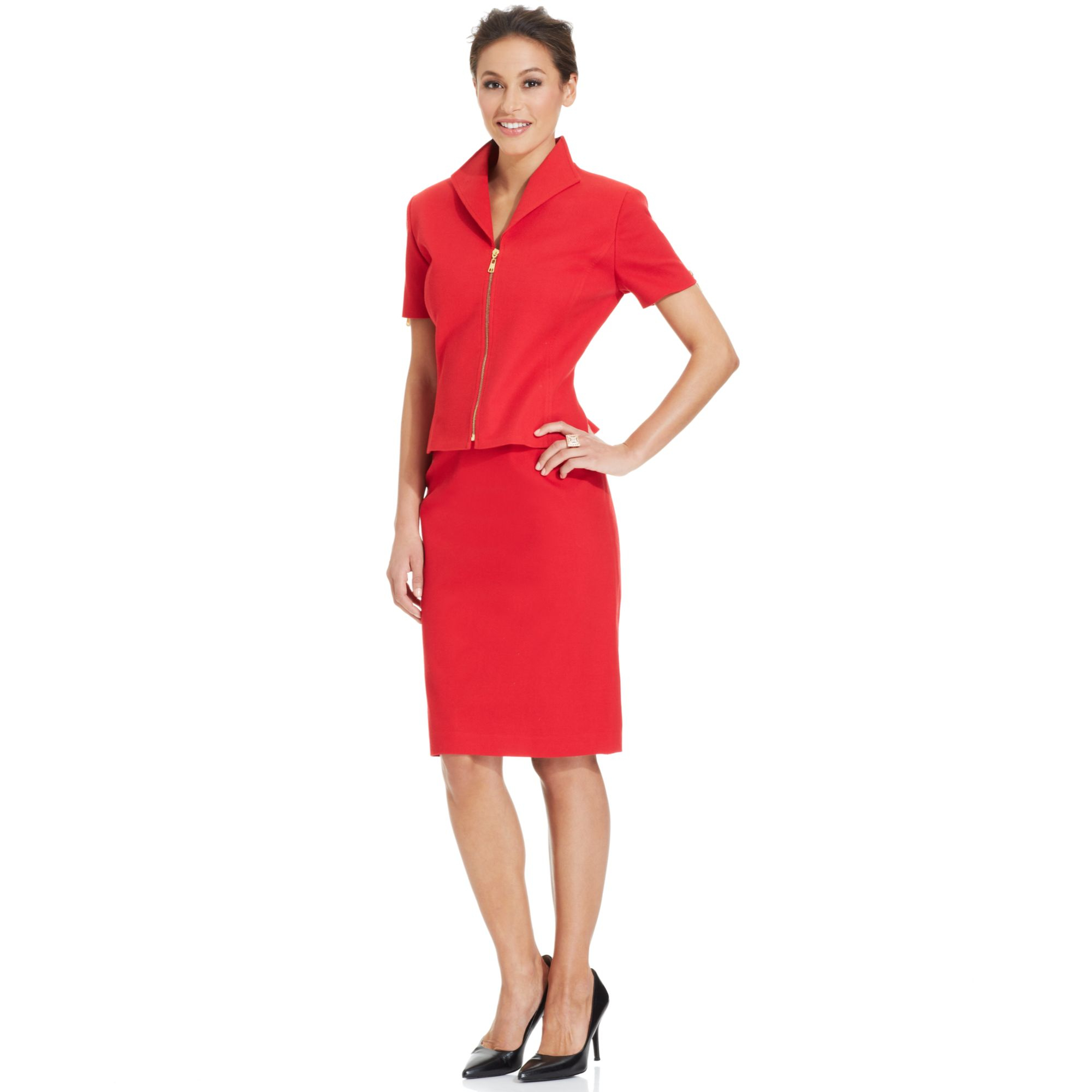 Straight Hair Asl Lyst Tahari Short Sleeve Textured Skirt Suit In Red