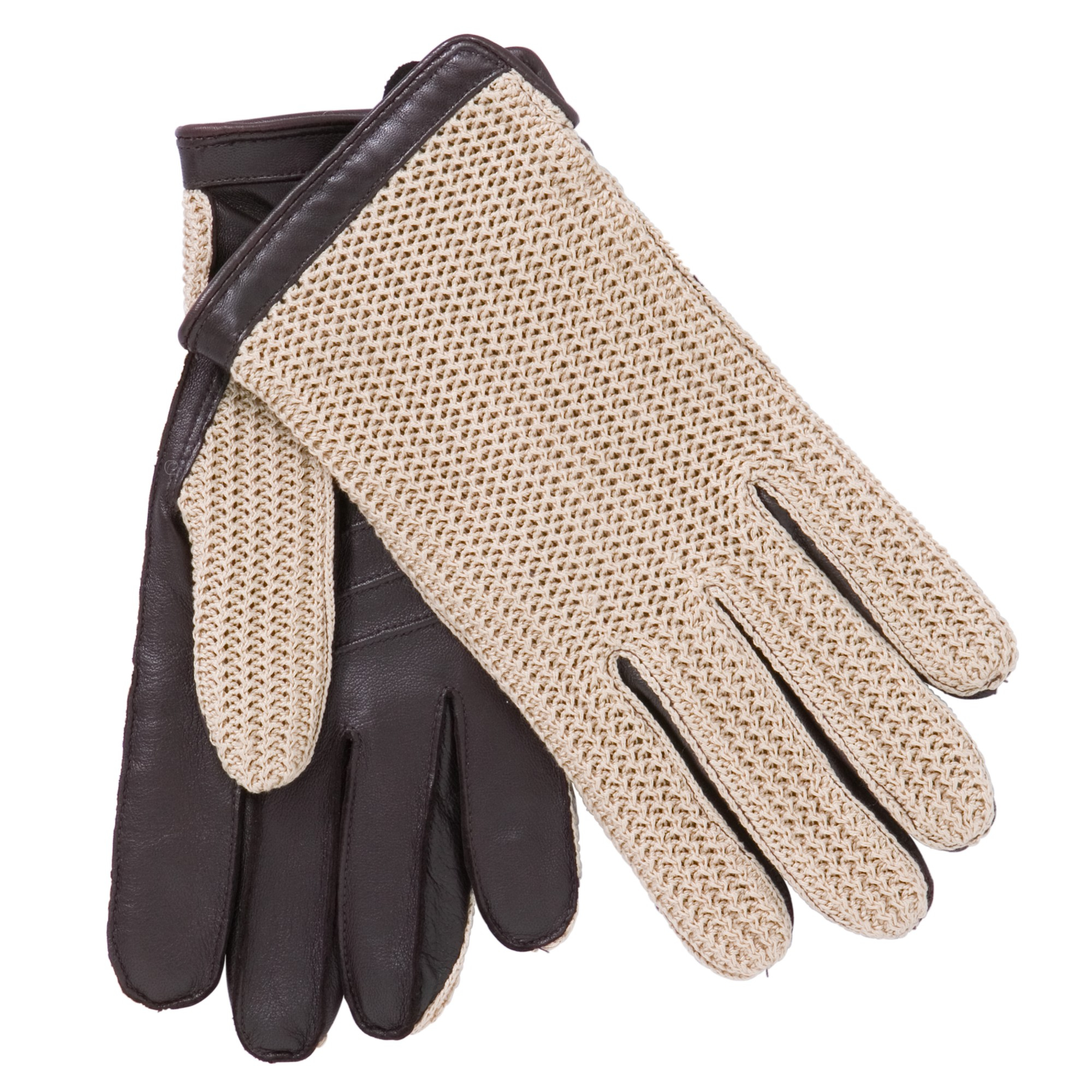 John lewis brown crochet back wool lined leather driving gloves for men lyst