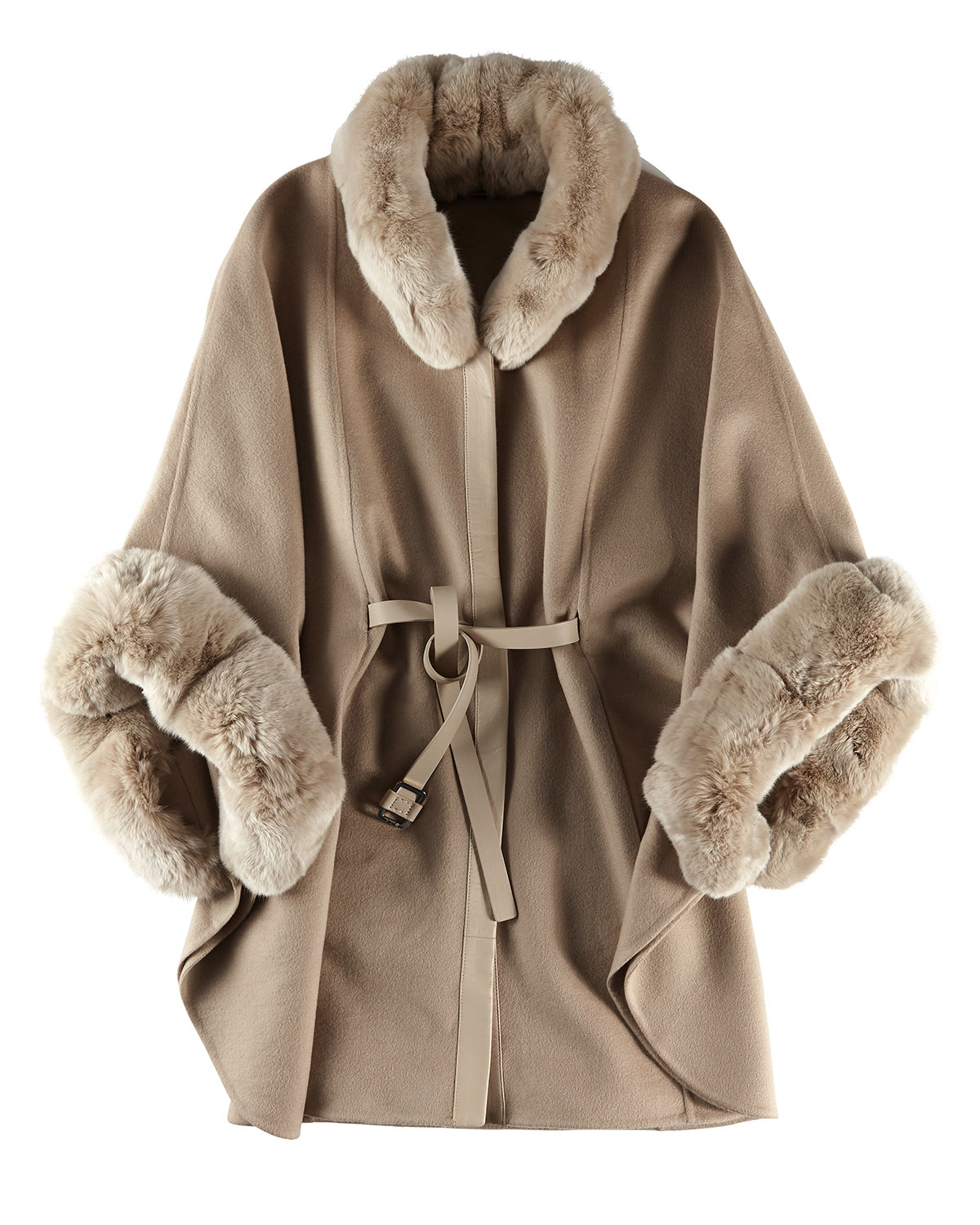 Cocoon Berlin Lyst - Loro Piana Audrey Fur-trim Cashmere Cape In Natural