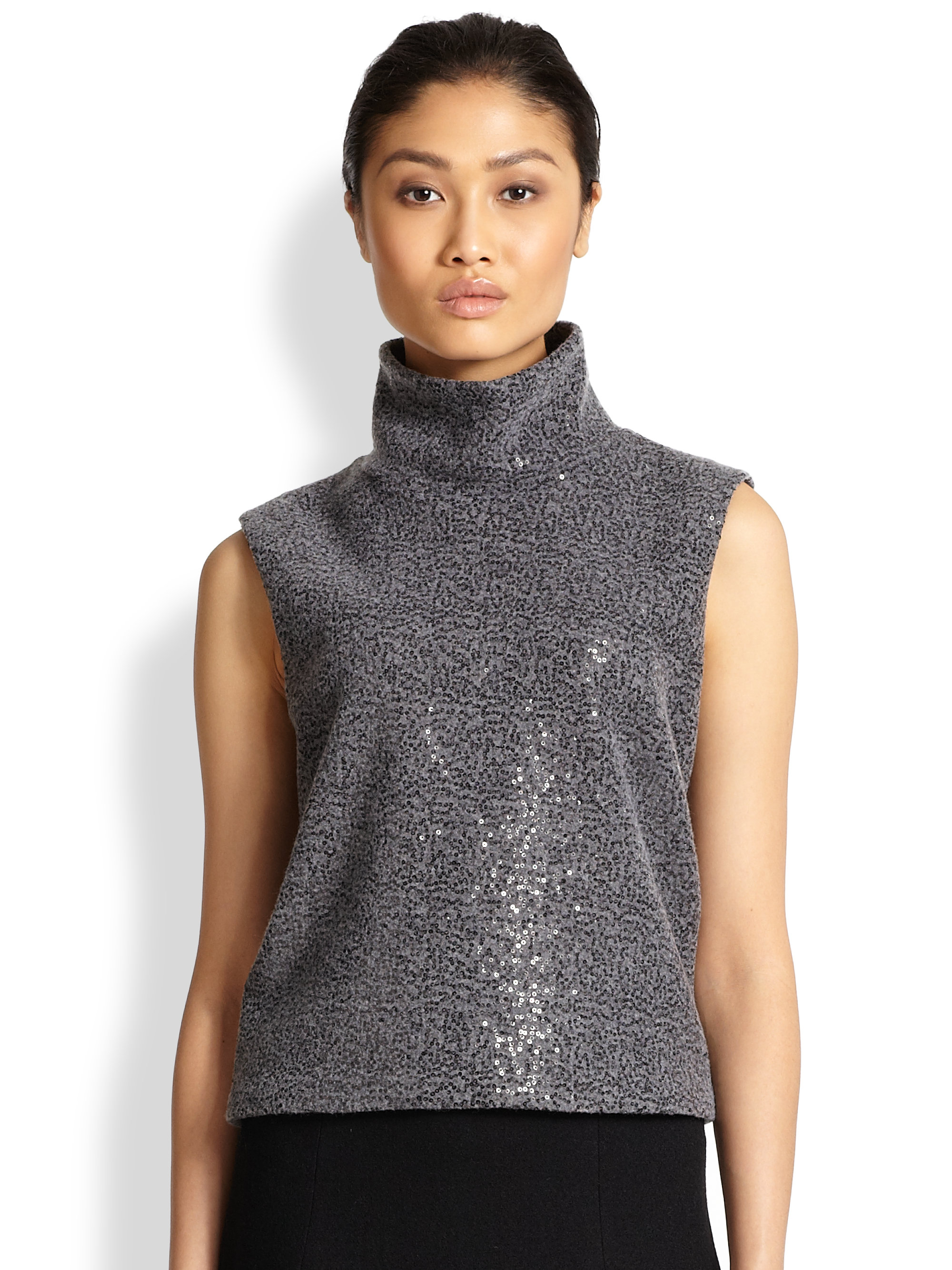 Nike Pullover Red L 39;agence Sleeveless Sequin Turtleneck Pullover In Charcoal
