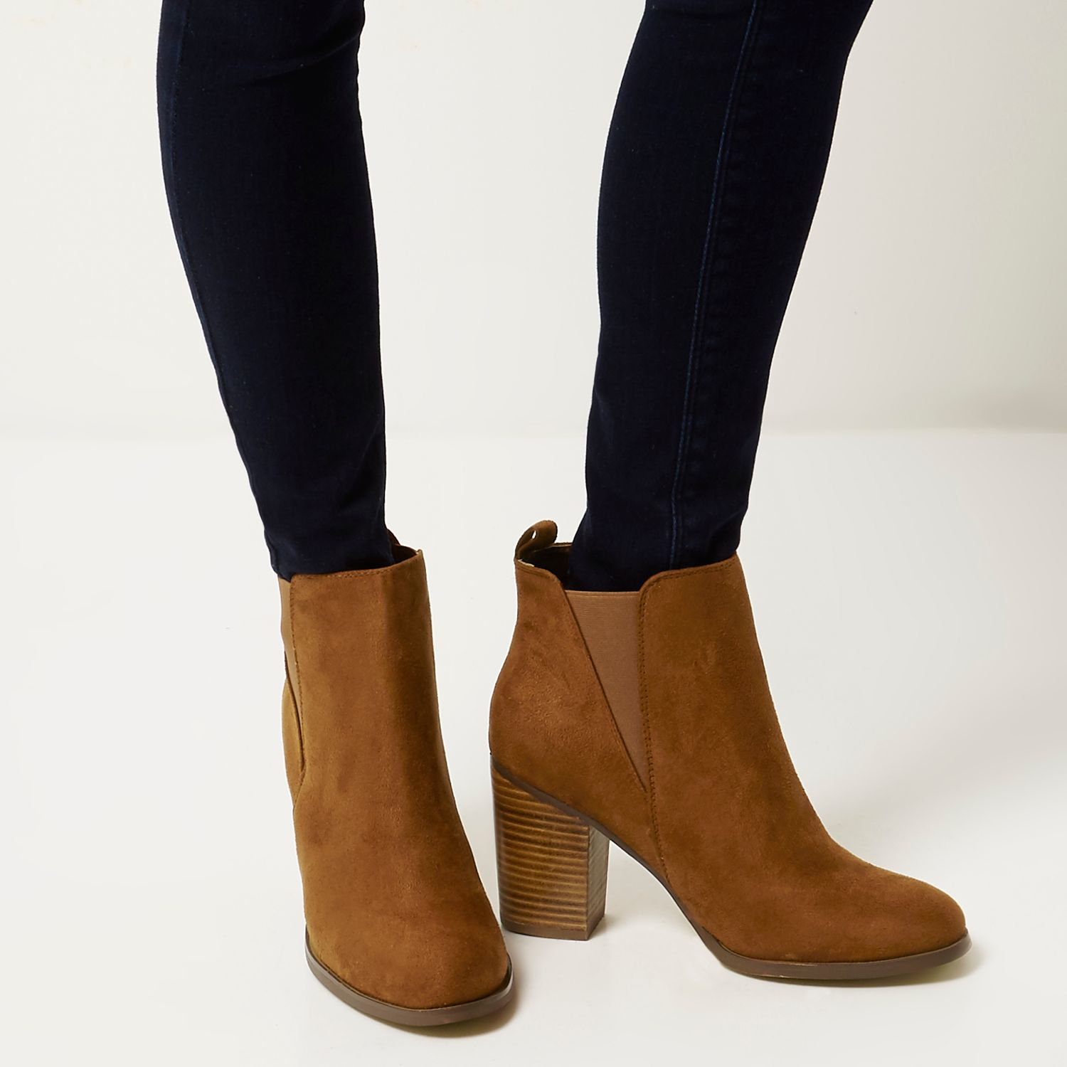 Lyst River Island Tan Heeled Chelsea Ankle Boots In Brown