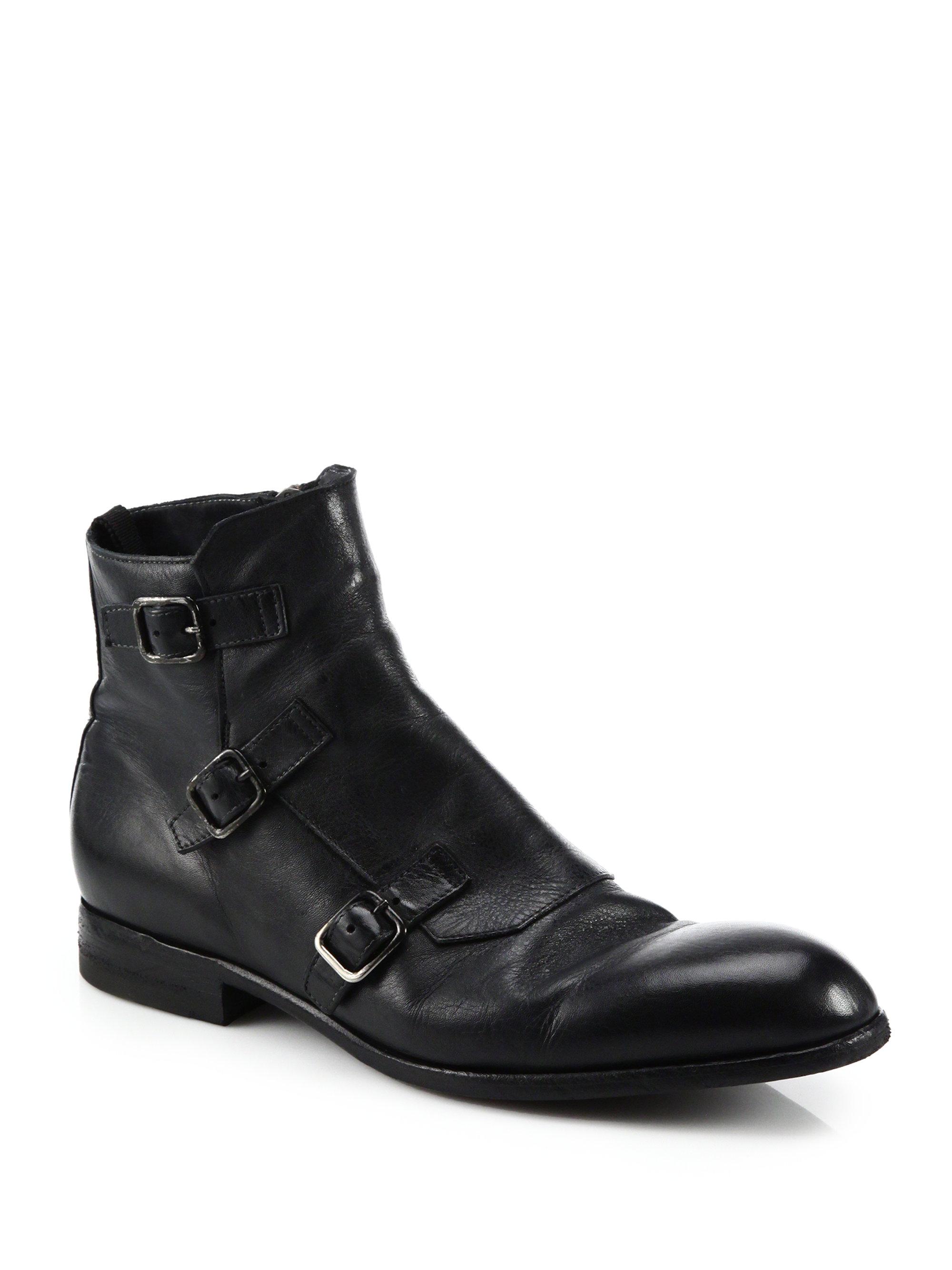 Lyst Alexander Mcqueen Triple Monk Strap Leather Ankle