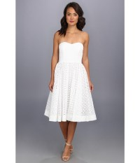 Lyst - Donna Morgan Strapless Eyelet Tea Length Dress in White