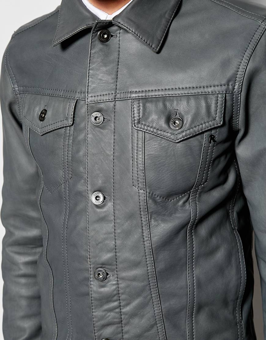 Forzieri Hogan Replay Leather Trucker Jacket Button Front In Gray For Men