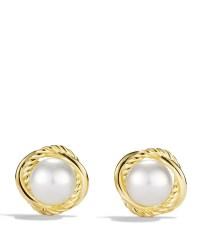 David yurman Infinity Earrings With Pearls In Gold in ...