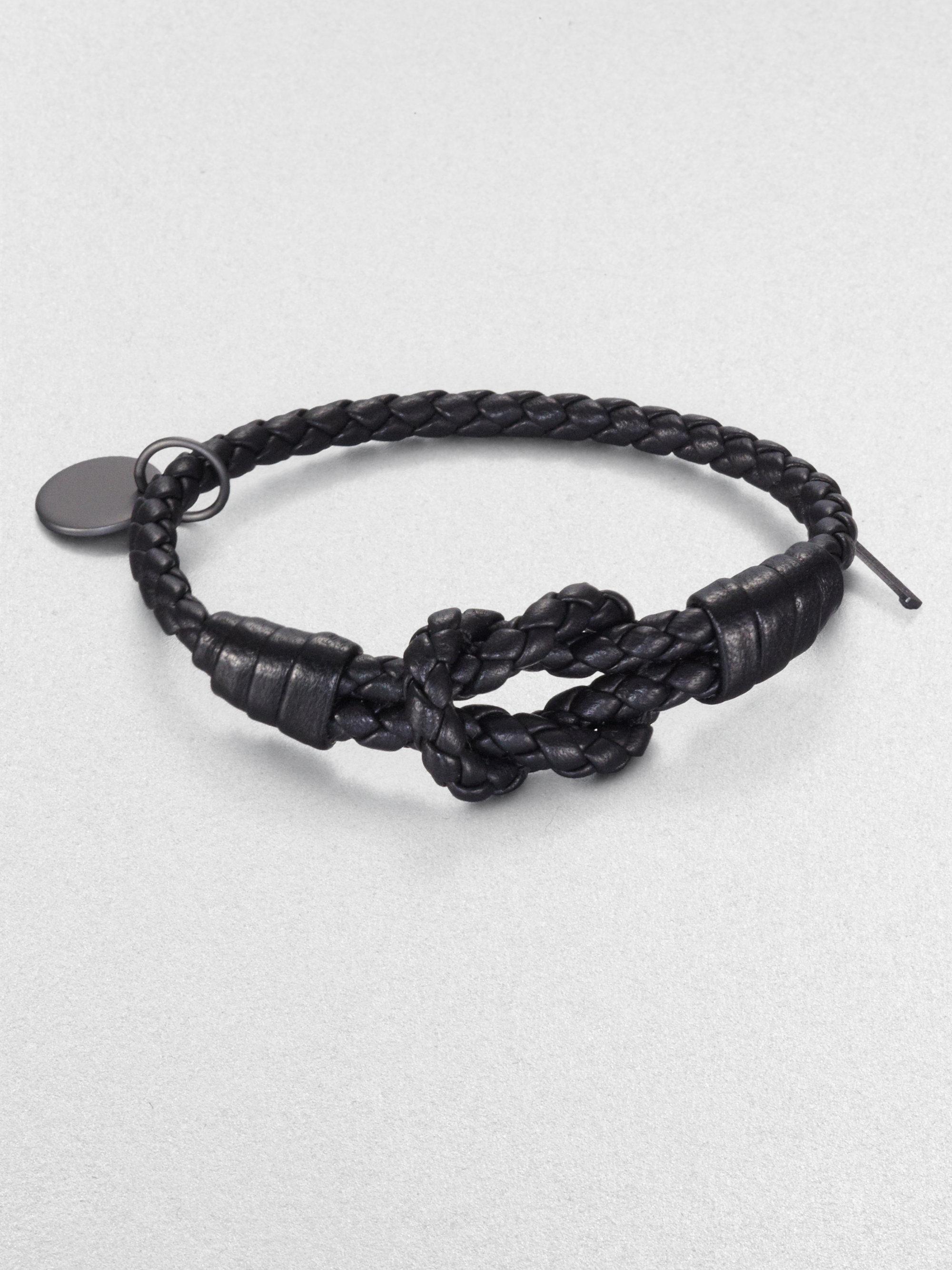 Bottega Veneta Intrecciato Knotted Leather Bracelet In