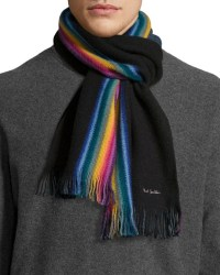 Paul smith Rainbow Stripe Wool Scarf in Black for Men | Lyst