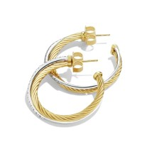 David Yurman Crossover Medium Hoop Earrings with Diamonds ...