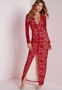 Missguided Lace Long Sleeve Maxi Dress Red in Red | Lyst