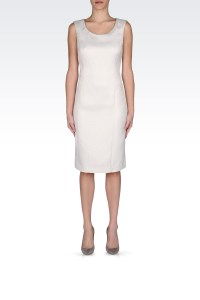 Armani Classic Sheath Dress with Quilted Effect in White