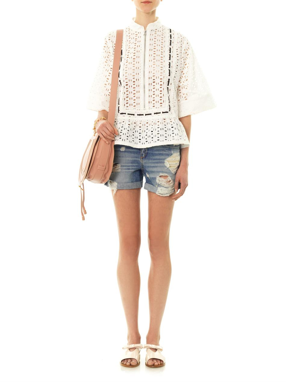 Pixie Cut News Lyst See By Chloé San Gall Broderie Anglaise Blouse In White
